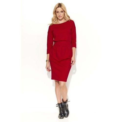 Makadamia Czerwona sukienka bombka z kieszeniami