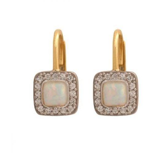 Rodium Złote kolczyki naturalny kamień opal