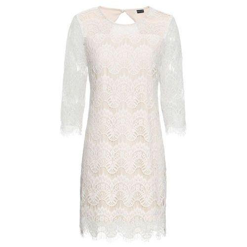 Bonprix Sukienka koronkowa biało-cielisty