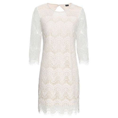 Sukienka koronkowa bonprix biało-cielisty, w 6 rozmiarach