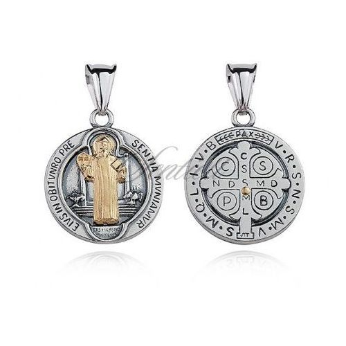 Srebrny oksydowany medalik pr.925 święty benedykt z pozłacanym wizerunkiem - m0190ox_z marki Sentiell