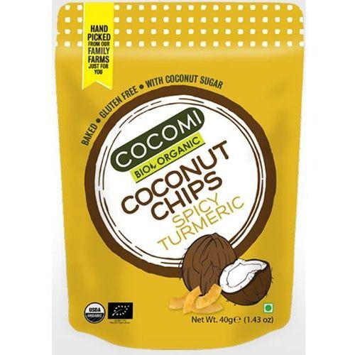 Cocomi dystrybutor: bio planet s.a., wilkowa wieś 7, 05-084 leszno k. Chipsy kokosowe pikantne z kurkumą prażone bezglutenowe bio 40 g - cocomi
