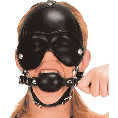 Ledapol Skórzana maska z kneblem i klapkami na oczy (3 kolory), rozmiar: u, kolor: czarny (5907814891648)