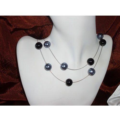 N-00018 Naszyjnik z perełek szklanych, popielatych i czarnych, 14-03-11