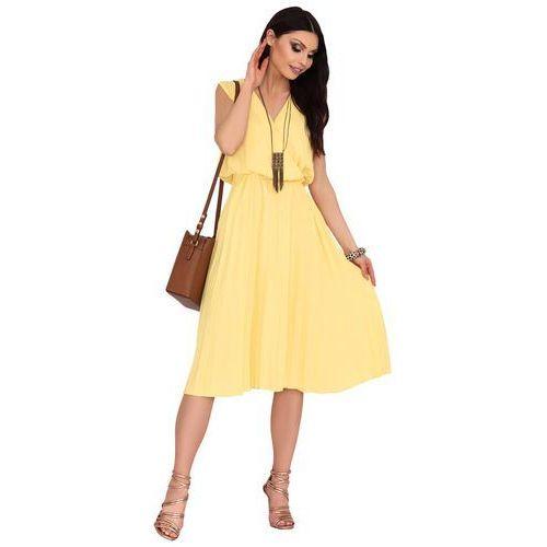 ee50f46bab4ba7 Żółta Plisowana Sukienka z Kopertowym Dekoltem, w 3 rozmiarach 115,90 zł  Material: poliester 95% spandex 5%.Dostepne rozmiary: XXL (44),  L-XL.warianty ...