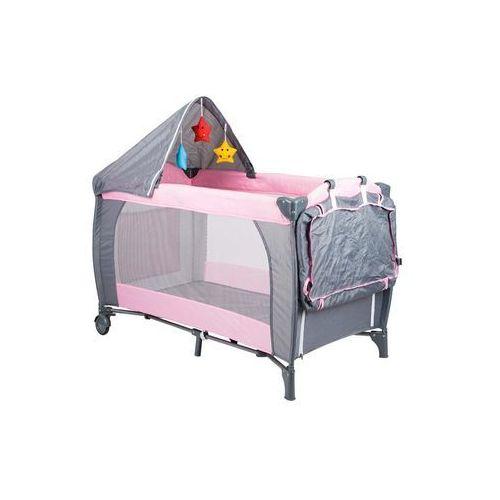 Łóżeczko turystyczne Hop-Sport różowe + moskitierka + daszek + koszyk gratis - produkt dostępny w Hegen