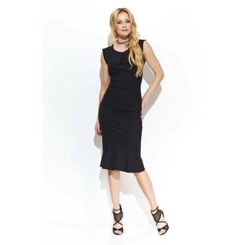 Czarna elegancka sukienka midi w stylu rybki, Makadamia, 36-42