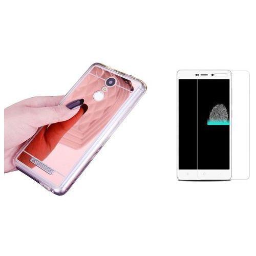 Zestaw | Slim Mirror Case Różowy | Etui + Szkło ochronne Perfect Glass dla modelu Xiaomi Redmi Note 4