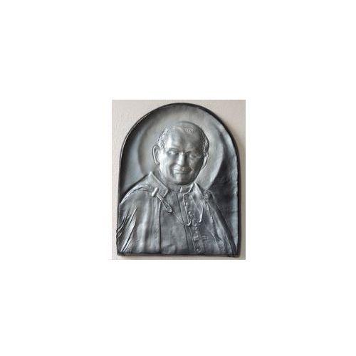 Piękna płaskorzeźba w skórze z świętym papieżem janem pawłem ii - pd-3 marki Art deco