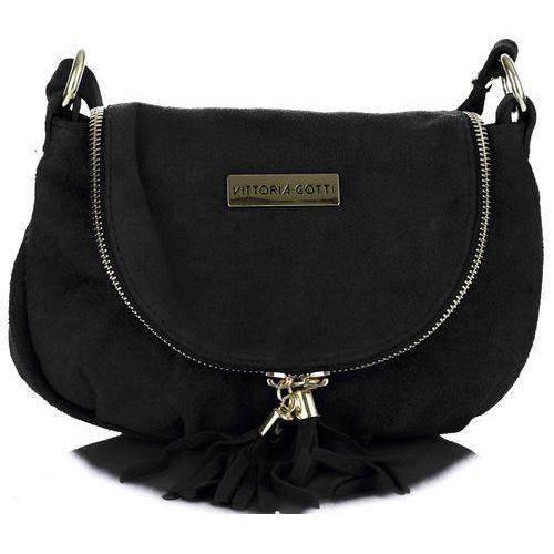 468a3cf8c093b Vittoria gotti Małe torebki skórzane listonoszki firmy wykonane w całości z  zamszu naturalnego czarne (kolory) 99