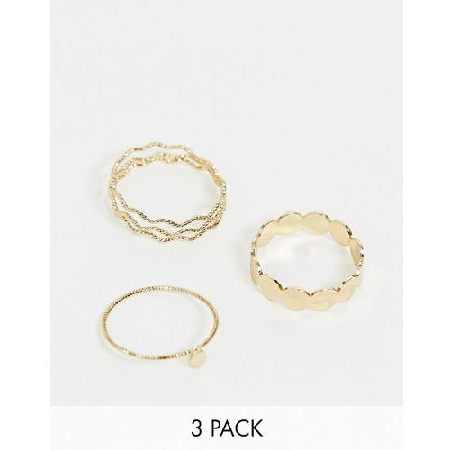 Asos curve Asos design curve pack of 3 rings in textured wave and circle design in gold - gold