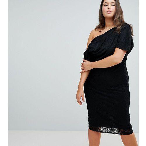 ASOS DESIGN Curve pleated shoulder lace midi dress - Black