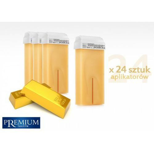 Premium textile Zestaw gabinetowy wosk do depilacji gold z szeroką rolką 80ml x 24 szt