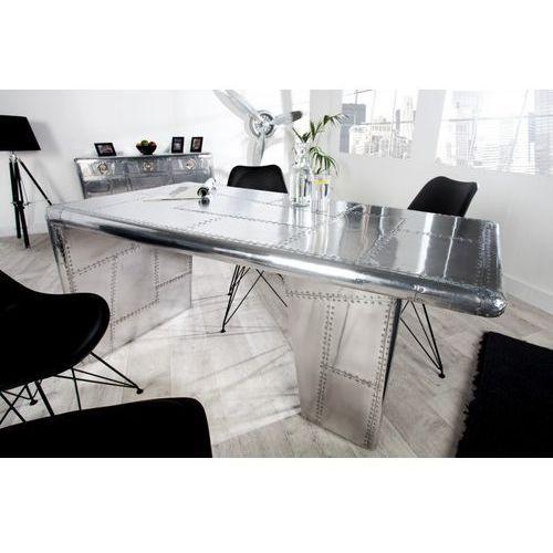IiNTERIOR Stół Srebrny Alloy 150x75 cm z Wykończeniem Aluminiowym - i22847 - produkt dostępny w sfmeble.pl