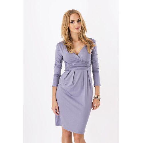 Makadamia Stalowa elegancka sukienka midi z kopertowym założeniem