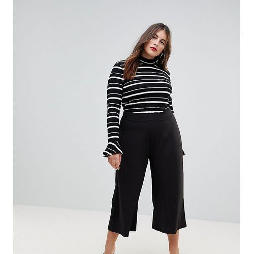 cropped black wide leg trousers in jersey crepe - black marki Asos curve