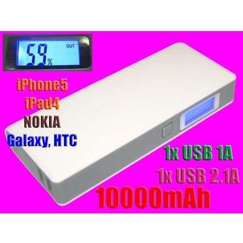 Ładowarka POWER BANK LCD 10000mAh 2USB iPhone5 HTC