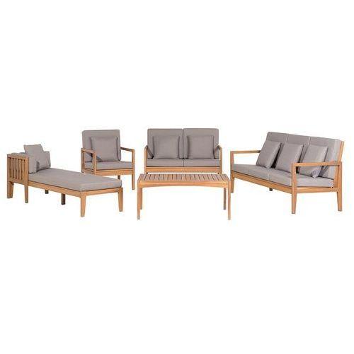 Meble ogrodowe brązowe - stół + 2 ławki + fotel + leżak - PATAJA
