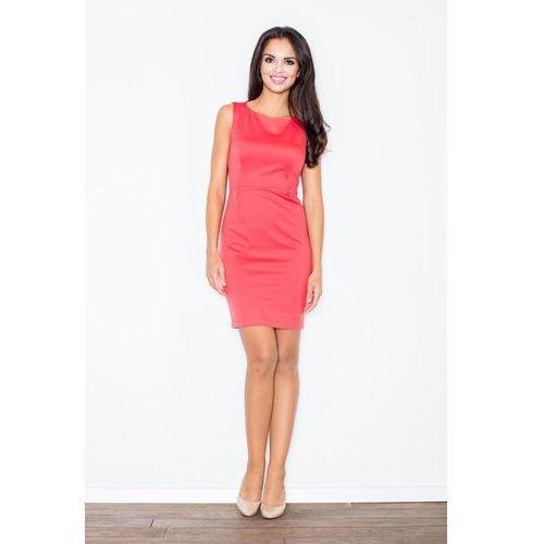 Koralowa Modna Ołówkowa Sukienka Bez Rękawów, ołówkowa