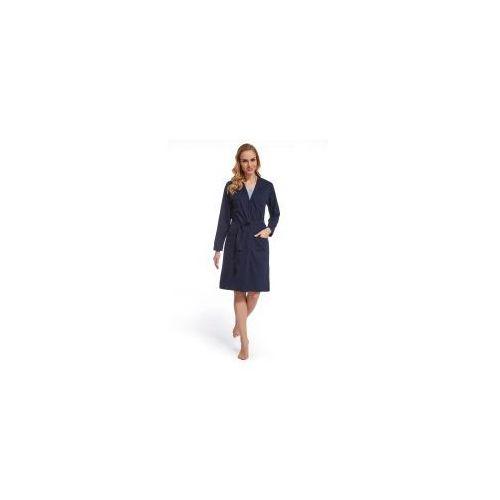 Damski bawełniany szlafrok / podomka Granatowy, kolor niebieski