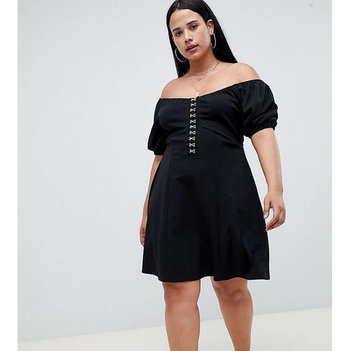 ASOS DESIGN Curve mini skater dress with hook and eye detail - Black