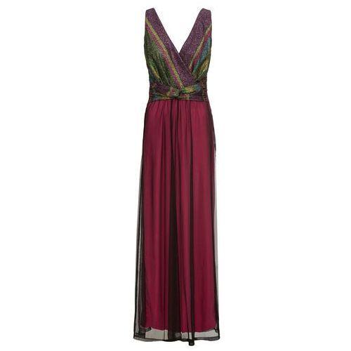 Długa sukienka wieczorowa z kolorowym brokatowym zdobieniem jeżynowy, Bonprix, 32-34