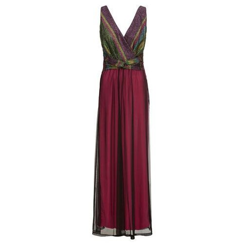 Długa sukienka wieczorowa z kolorowym brokatowym zdobieniem jeżynowy marki Bonprix