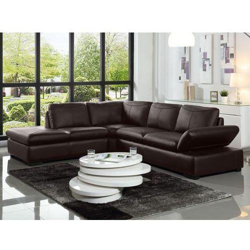 Sofa narożna ze skóry onyx ii - czekoladowy - narożnik lewostronny marki Vente-unique