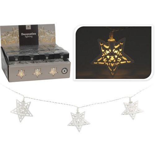 Lampki na choinkę LED gwiazdy, metal, biały, 30 cm - sprawdź w 4HOME
