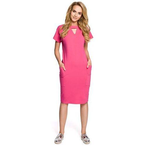 628091f160 Fuksja Sukienka z Trójkątnym Wycięciem przy Dekolcie