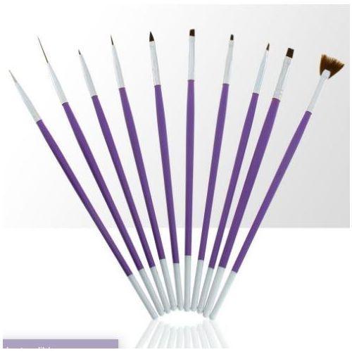 Pędzelki do żelu, akrylu i zdobień fioletowe 10szt marki Cosnet