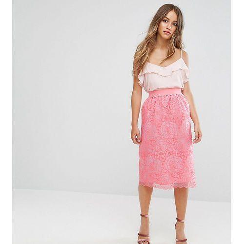 exclusive premium floral organza midi skirt - pink, Asos petite