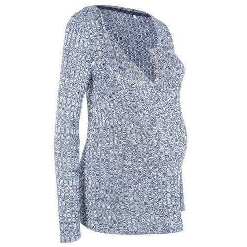 Lekki sweter ciążowy i do karmienia piersią indygo melanż marki Bonprix