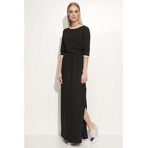 Czarna Sukienka Maxi z Lamówkami, kolor czarny