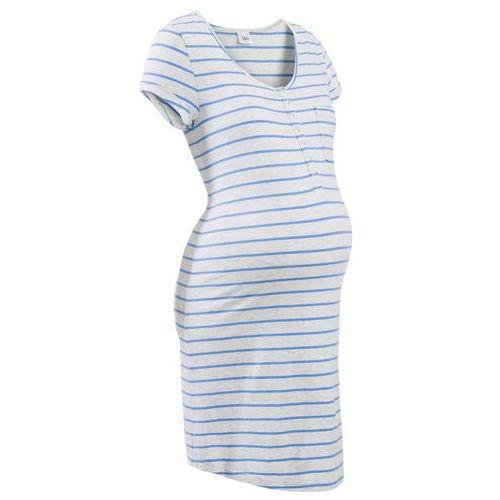 Koszula nocna ciążowa i do karmienia naturalny melanż - niebieski w paski, Bonprix, L-XXXXL