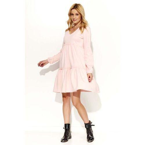 Pudrowa Sukienka Oversize z Falbankami, DM367pi