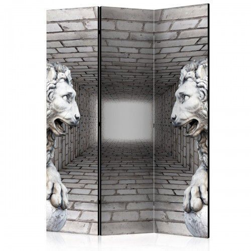 Parawan 3-częściowy - Kamienne lwy [Room Dividers], A0-PARAVENT75 (7809947)
