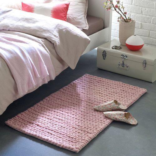 Dywanik przed łóżko z czystej wełny z efektem plecionej dzianiny, Diano (dywanik podłogowy)