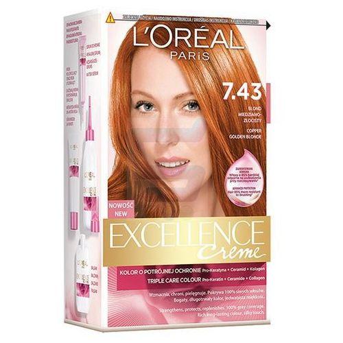 Excellence creme farba do włosów 7.43 blond miedziano-złocisty - paris marki L'oreal