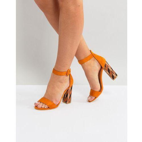 Glamorous Block Heeled Sandal With Patterned Block in Mustard - Yellow, kolor żółty