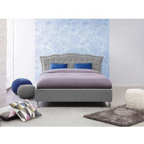 Łóżko szare - 140x200 cm - tapicerowane - ze stelażem - podwójne - METZ