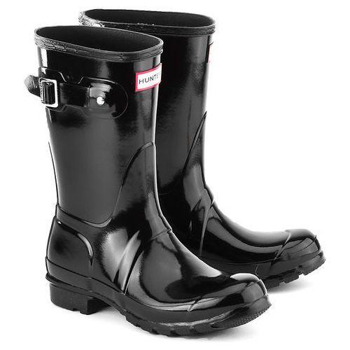 Hunter  Original Short Gloss - Czarne Gumowe Kalosze Damskie - WFS1000RGL BLACK, czarna