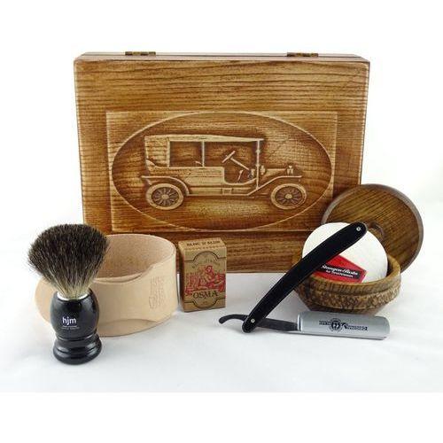 Margo Retro samochód ii 7-elementowy zestaw do golenia brzytwą w drewnianym pudełku, czarny