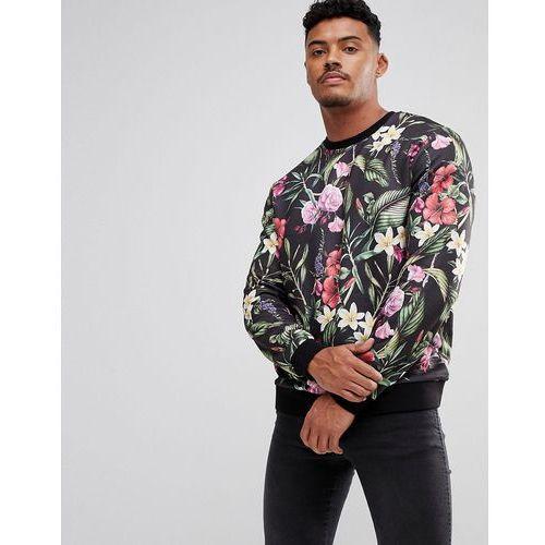 Asos sweatshirt with floral print - black