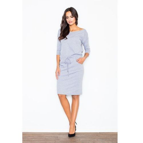 Bawełniana szara sukienka ze ściągaczem marki Figl