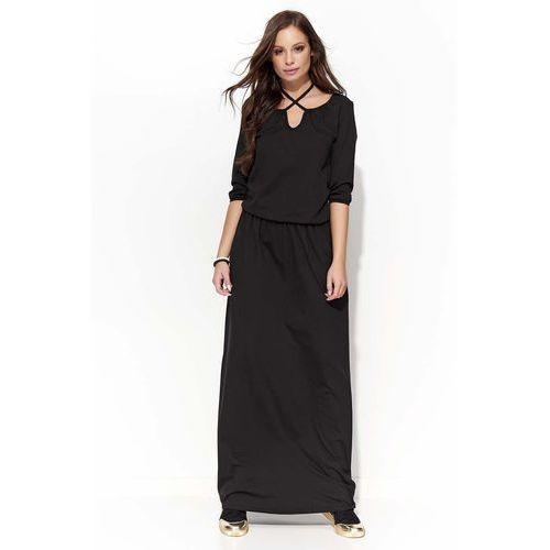 Czarna Długa Sukienka z Wiązaniem na Szyji, kolor czarny