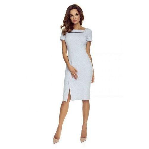 Pudełkowa sukienka koktajlowa z kontastową wstawką, M56708_1_s