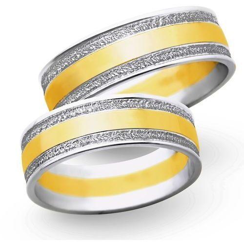 Obrączki z białego i żółtego złota 8mm - O2K/001 - produkt dostępny w Świat Złota