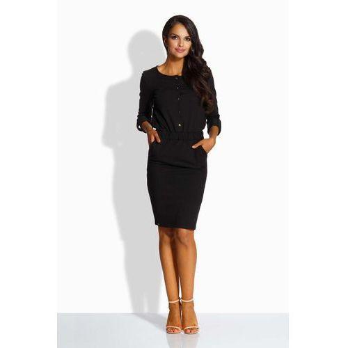 Czarna Elegancka Sukienka Zapinana na Guziki, kolor czarny
