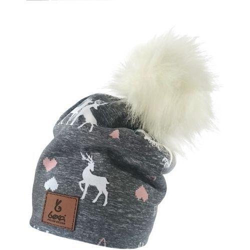 czapka dziewczęca renifer winter 56 szara marki Bexa